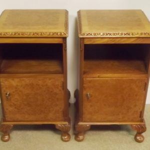 Pair of Antique Burr Walnut Edwardian Open Pot Cupboards