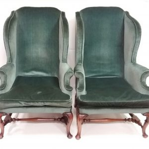Antique Pair of Edwardian Wingback Armchairs