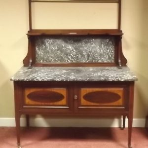 Antique Edwardian Inlaid Mahogany Marble Top Wash Stand