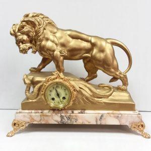 Antique Victorian Gilded Mantle Clock