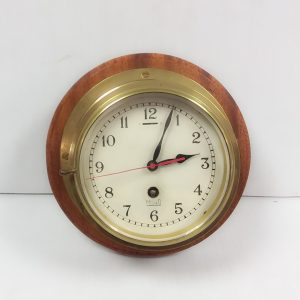 Antique Edwardian Mahogany & Brass Ships Clock