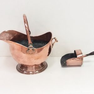 Antique Victorian Copper Coal Depot & Shovel