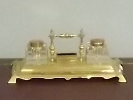 Antique Edwardian Brass & Copper Desk Tidy