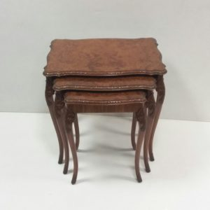 Antique style burr walnut nest of tables