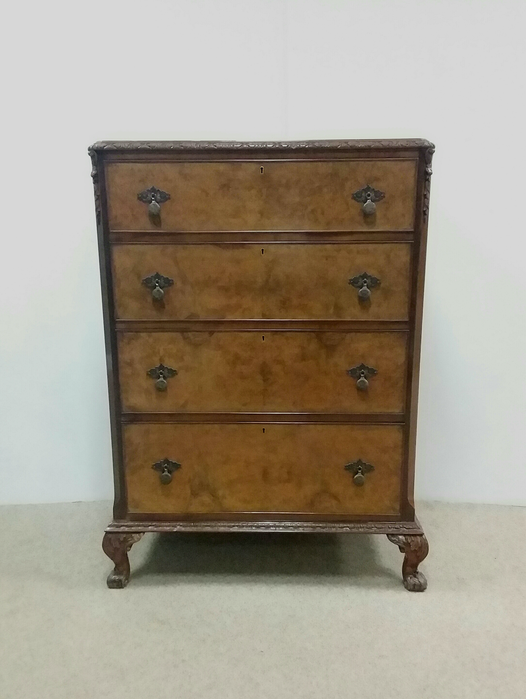 antique burr walnut edwardian chest of drawers reilly antiques
