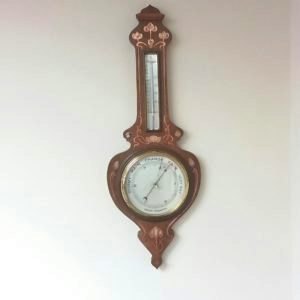 Art Nouveau Oak Inlaid Mother of Pearl Aneroid Barometer.