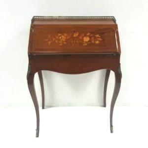 Antique Victorian Inlaid Walnut Bonheur De Jour