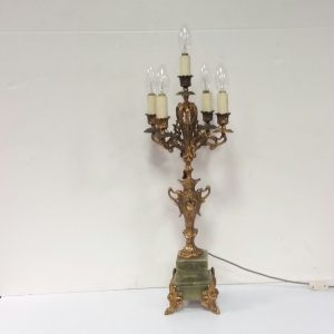 Antique Victorian Brass Candelabra Lamp