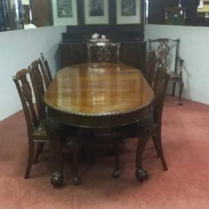 Antique Edwardian Chipendale Mahogany Dining Room Suite