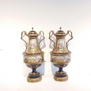 Large Pair of Ceramic & Brass Urns