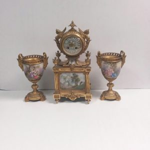 Antique Victorian Ormolu 3 Piece Mantle Clock