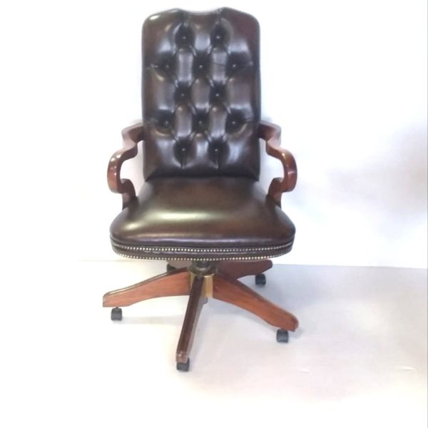 Antique Style Leather Buttoned Back Desk Chair