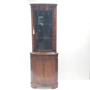 Burr Walnut Corner Display Cabinet