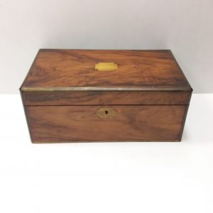 Antique Victorian Walnut Slopetop Writing Box