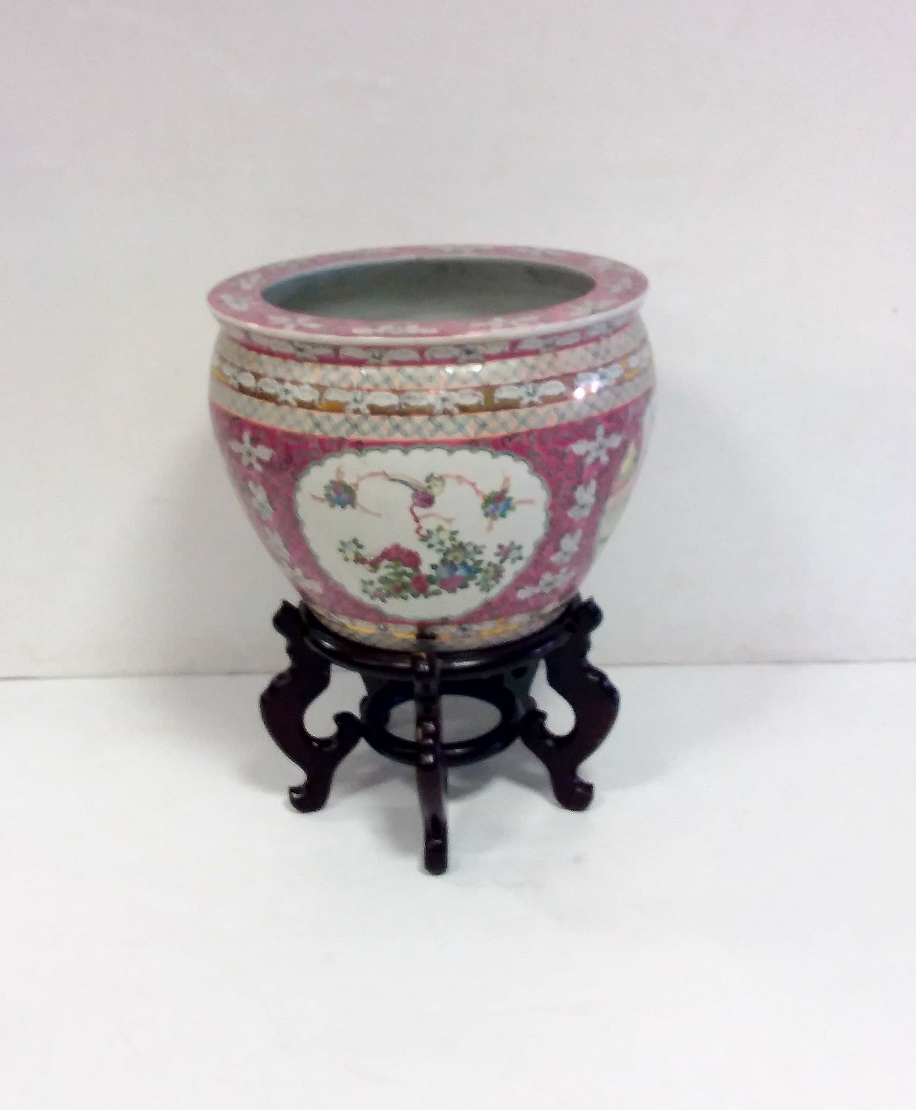 Antique style chinese fish bowl stand reilly antiques for Chinese fish bowl