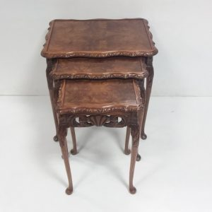 Antique style walnut nest of 3 tables