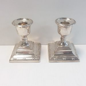 Antique Victorian Pair of Solid Silver Candle Sticks