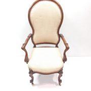 Antique Victorian Walnut Cabriole Leg Upholstered Armchair