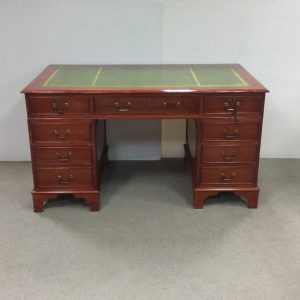 Antique Style Reproduction Twin Pedestal Desk