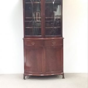 Antique Georgian Style Inlaid Mahogany 2 Door Bookcase