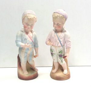 Antique Victorian Pair of Bisque Figures