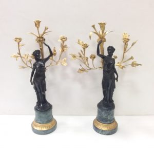 Pair Of Bronze Figures On Marble And Gilt Base