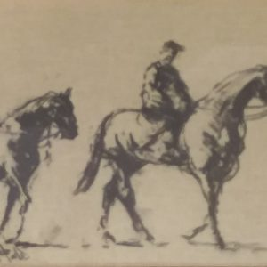 Charcoal On Canvas By John Fitzgerald Work Riders