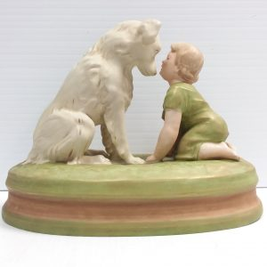 Antique Victorian _ royal _ dux _ figure _ of_ boy_ and _ dog