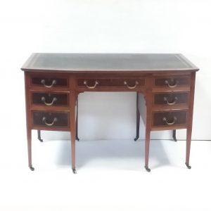 Edwardian inlaid Mahogany_ leather_ top__ writing_ desk