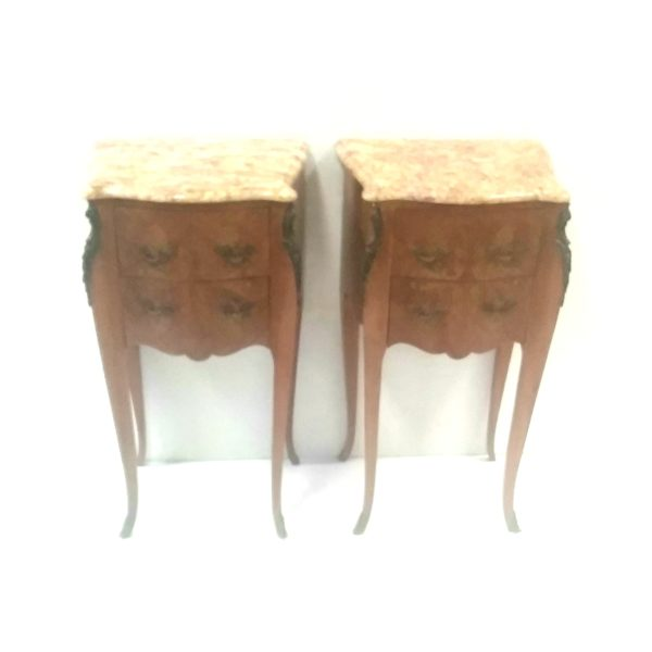 Pair Of French Marle Top Nightstands.