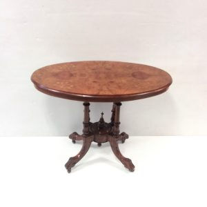 Antique_ Victorian_ burr _ Walnut _ inlaid _ Centre _table.