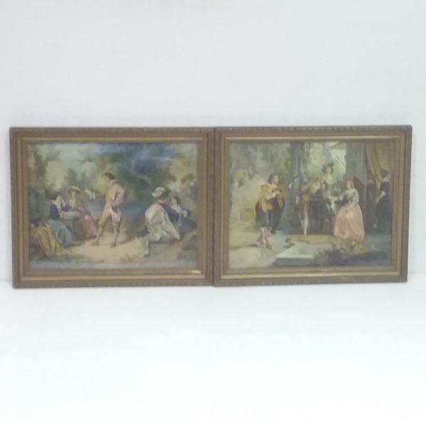 Antique Victorian Pair of Oilographs