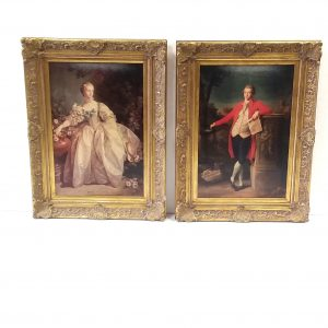 Antique Pair Of Victorian Style Oilographs