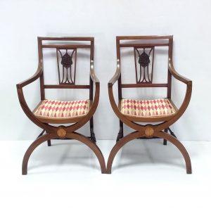 Edwardian Inlaid Mahogany Carver Chair