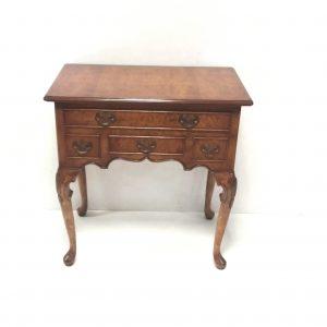 Antique -Style- Five- Drawer- Burr- Walnut -Lowboy