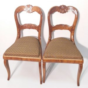 Pair of antique French walnut chairs