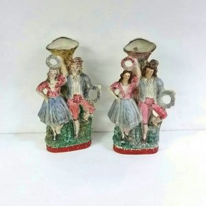 Antique Pair of Victorian Staffordshire Figures