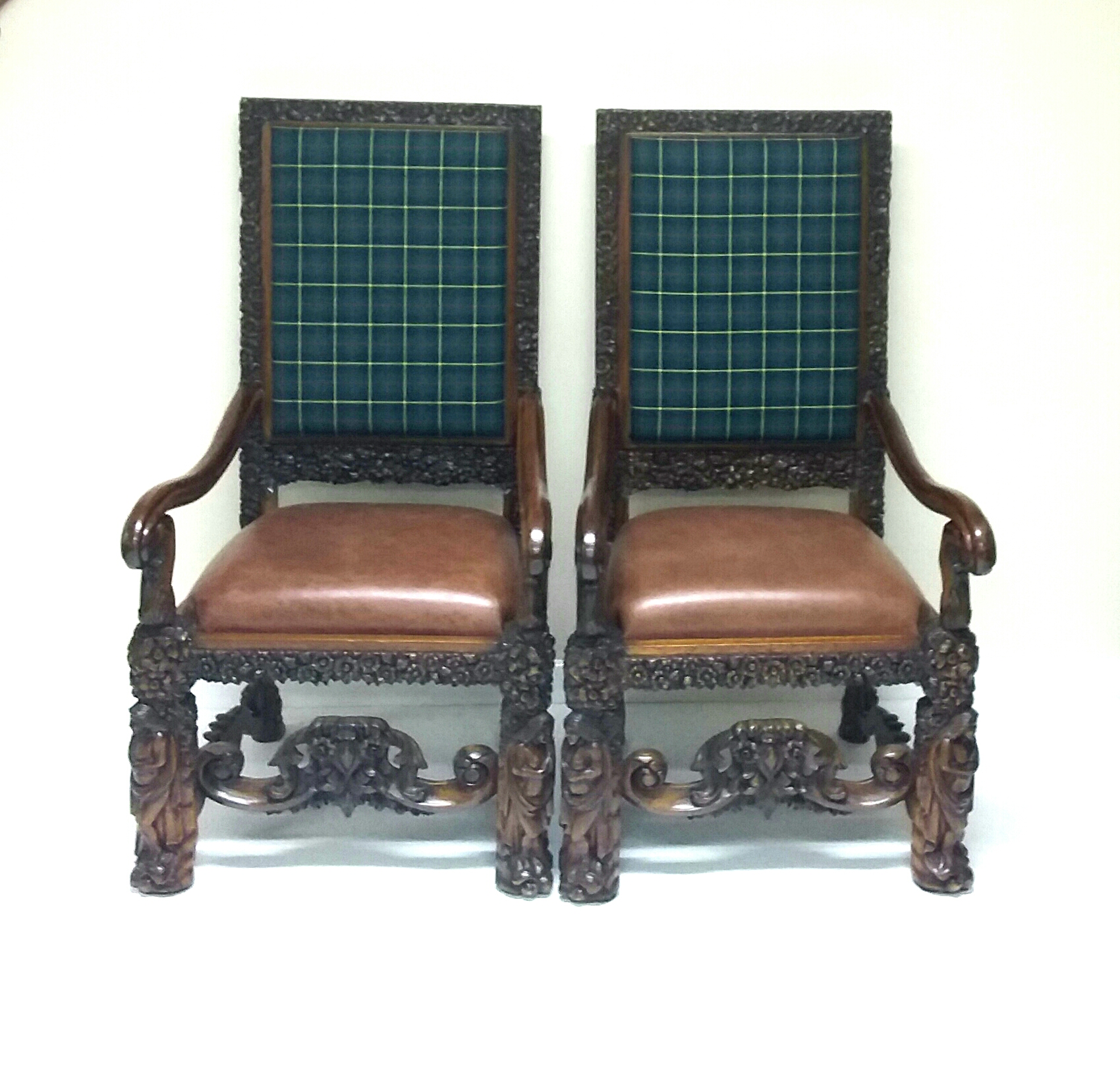 Antique Style Carved Armchairs