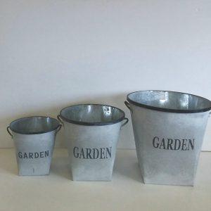 Set of 3 Garden Metal Tubs