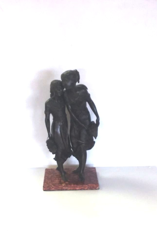 Bronze Spelter Figure of Two Girls on Marble Base