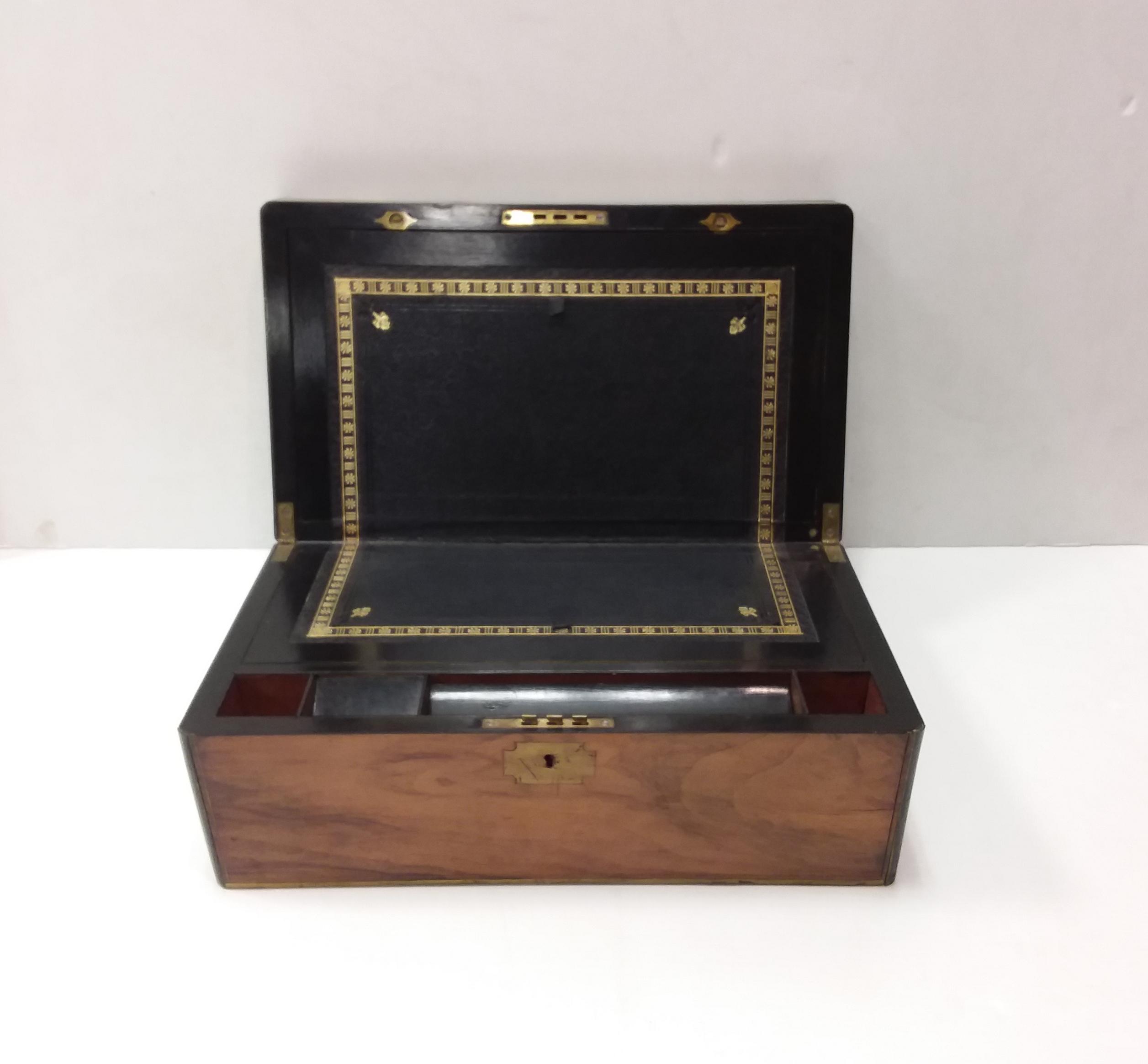 Antique Victorian Walnut Slopetop Writing Box