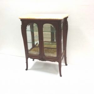 Antique Early Victorian Walnut Marble Top Display Cabinet