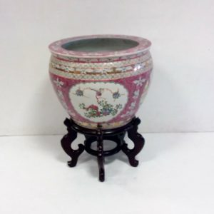Antique Style Chinese Fish Bowl & Stand