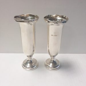 Pair of 1926 Solid Silver Bud Vases