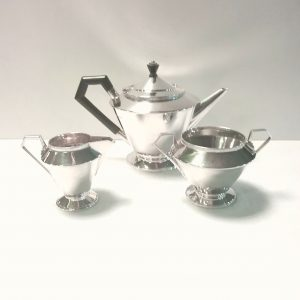 Art Deco 3 Piece James Dickson Solid Silver Tea Service