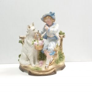Antique Victorian Bisque Figure of Boy and Dog