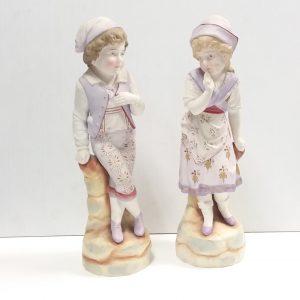 Antique Victorian Pair of Bisque Figures