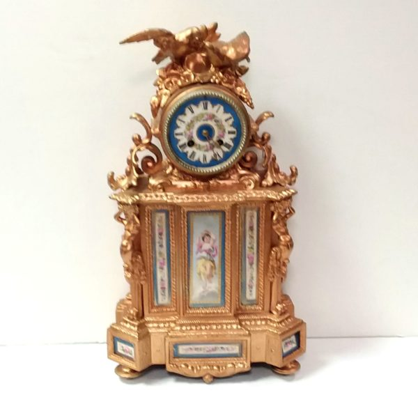 Antique French Gilded Louis Mantel Clock