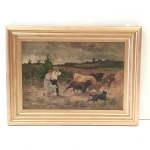 Antique Victorian Oil On Canvas