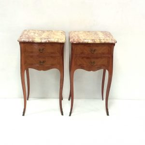 Antique French Kingwood Inlaid Marble Top Nightstands